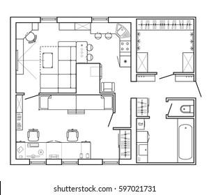 Set Furniture Top View Apartments Plan Stock Vector (2018) 518462065 ...