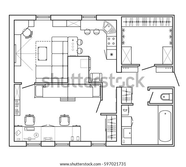 Image Vectorielle De Stock De Plan Architectural D Une Maison Plan De 597021731