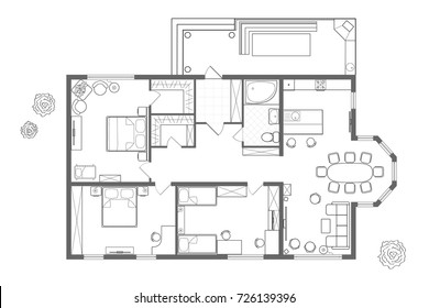 Architectural plan of the house. Professional layout with furniture in the form of a drawing. With kitchen, bedrooms, living room, dining room, bathroom and barbecue area. Floor plan, interior design
