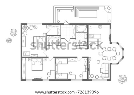 Architectural Plan Of The House Professional Layout With Furniture In Form A Drawing