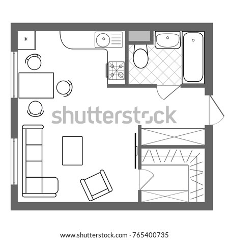 Architectural Plan House Professional Layout One Stock Vector