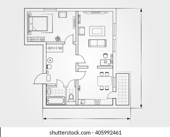 the architectural plan. the layout of the apartment with the furniture in the drawing view. Top. Accommodation with kitchen, living room and bedroom