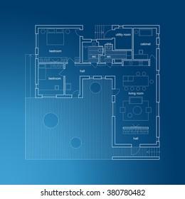 Architectural plan of modern house. Vector blueprint.