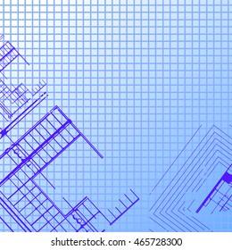 Architectural plan on a blue copybook. Blueprint.