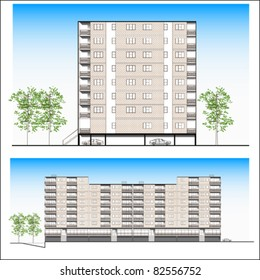 Architectural project background. Front facade construction sketch drawing of modern building design highly detailed, vector