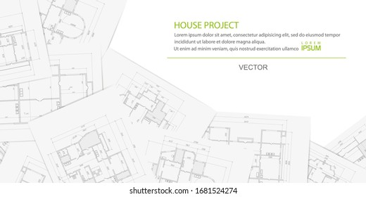 Architectural project on a white sheet of paper .Technical drawing background.Engineering design .Vector , illustration.