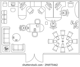 Architectural set of furniture. Interior design elements for floor plan, premises. Thin lines icons of office tables, sofa, equipment, computer, people, flowers. Standard size. Vector isolated