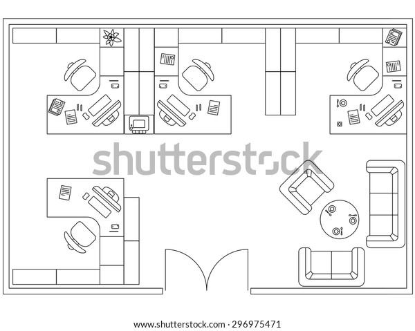 Architectural Set Furniture Interior Design Elements Stock Vector Royalty Free 296975471
