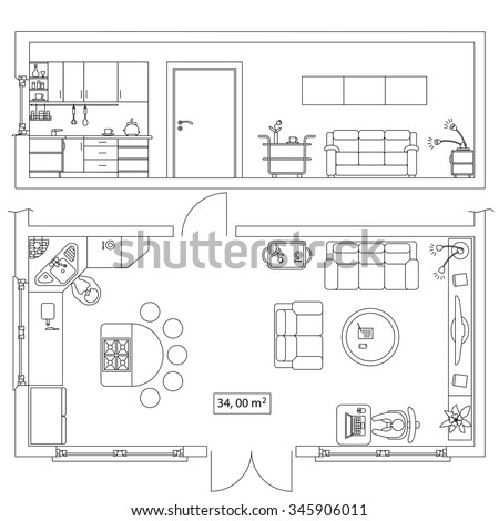Architectural Set Furniture Objects Building Plan Stock Vector