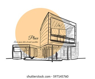 Architectural sketch. Sketch of a building with a light orange circle on the background with text.