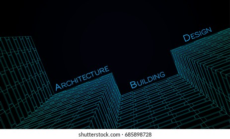 Architectural sketch drawing. Construction. Vector Abstract background. Geometric backdrop
