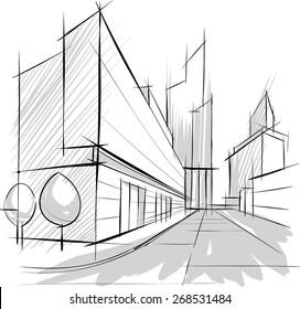 Architectural sketch, drill, building design