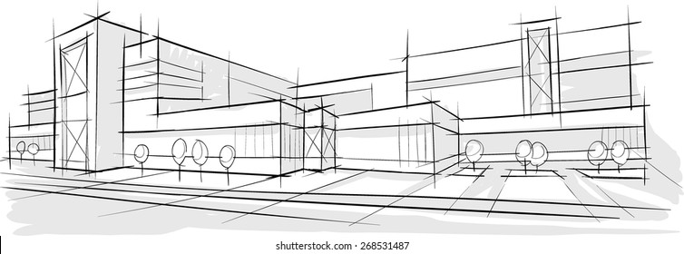 architectural buildings sketches architecture architectural sketch drill building design architecture sketch drawing building city stock vector royalty free