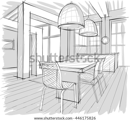Architectural Sketch Home Interior Stock Vector Royalty Free