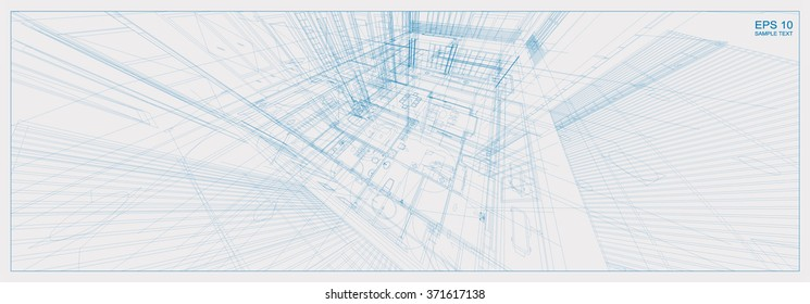 Architectural sketch idea of 3D perspective. Vector blueprint of building wireframe.