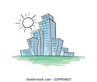 Architectural sketch. Illustration.