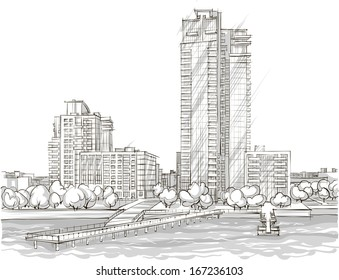 Architectural sketch. Illustration.
