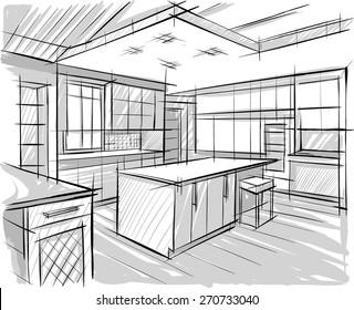 Interior design sketches kitchen Rough Architectural Sketch Of Kitchen Kitchen Sketch Images Stock Photos Vectors Shutterstock