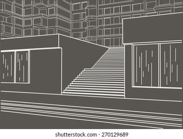 Architectural Sketch Of Street Stairs On Gray Background