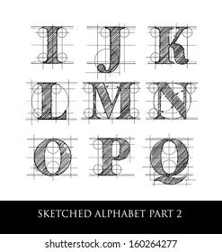 architectural sketched letters set 2