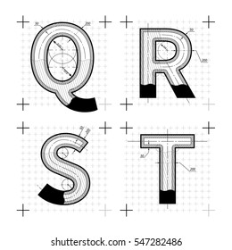 Architectural sketches of Q R S T letters. Blueprint style font on white.