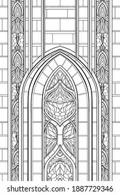 Architectural symmetric abstraction, pointed arch of a Gothic cathedral with patterns, stained glass window of an old church, decorative element of a medieval stone castle, graphic ornament, line art.