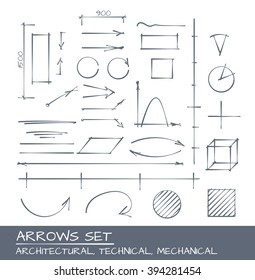 Architectural, Technical and Engineering Arrows. Hand Drawn Set
