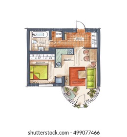 Architectural Technical Illustration. Hand Drawn Style Rendering. Vector Colorful Professional Drawing