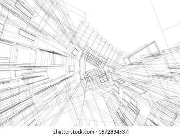 architecture 3d building, vector illustration