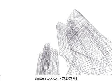 architecture 3d vector