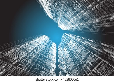 architecture abstract, 3d illustration, building structure vector