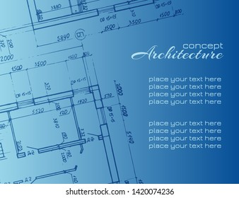 Architecture abstract background for design. Architectural drawings on blue background. Detailed plan. Graphic design elements. Architecture concept. Vector Illustration