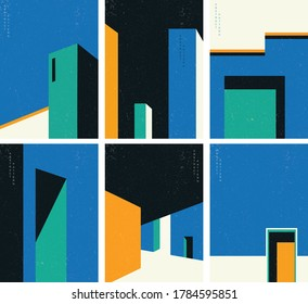 Architecture abstract background with grunge texture vector. Geometric shape with construction template illustration.