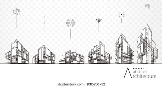 Architecture abstract building perspective lines, modern urban architecture abstract background.
