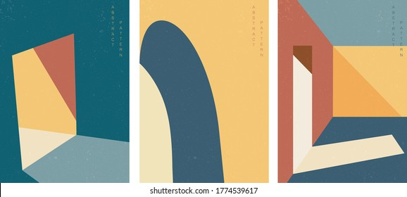 Architecture background with geometric pattern vector. Abstract art template illustration. - Shutterstock ID 1774539617