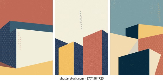 Architecture background with Japanese pattern vector.Geometric elements with abstract modern illustration template.