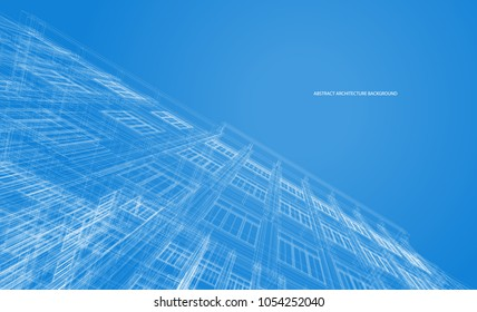 Architecture background. Perspective 3d Wireframe of building design