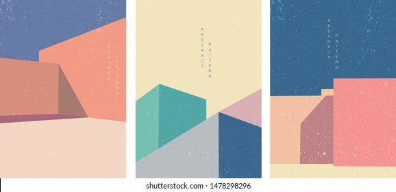 Architecture background poster design vector. Abstract pattern with construction template. Geometric elements. Building illustration with colorful square decoration.
