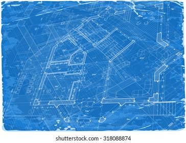 architecture blueprint - 3d house plan / vector illustration / Eps10