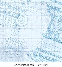 Blueprint hand draw sketch ionic architectural stock vector royalty architecture blueprint hand draw sketch ionic architectural order based the five orders of architecture malvernweather Image collections