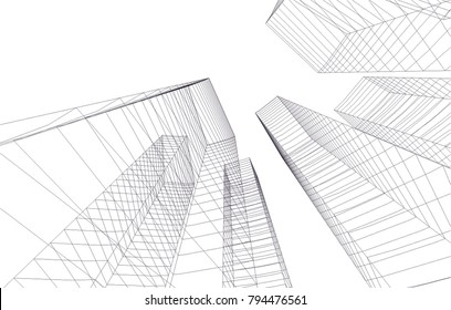 architecture building 3d  - Shutterstock ID 794476561