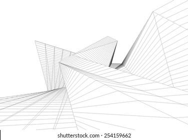 Architecture building 3d. Concept sketch.