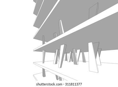 architecture building 3d vector