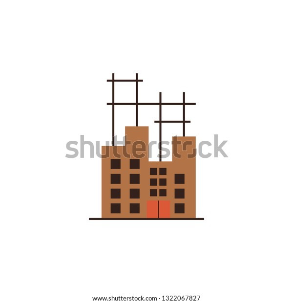 Architecture Building Industry Icon Color Element Stock Vector
