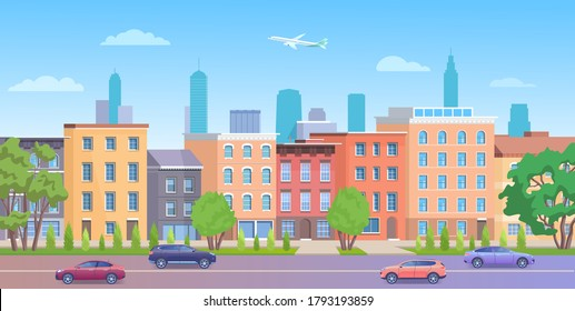 Architecture building in New York streets vector illustration. Cartoon flat urban NY skyline, panorama view of streetscape with classic facade brick houses, cars on road and empty sidewalk background