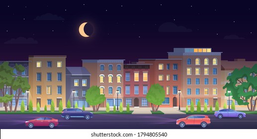 Architecture building in New York streets at night vector illustration. Cartoon flat urban NY skyline, panorama view of streetscape classic facade brick houses, cars on road, empty sidewalk background