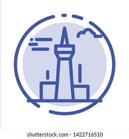 Architecture and City, Buildings, Canada, Tower, Landmark Blue Dotted Line Line Icon