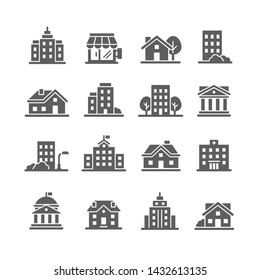 Architecture and city vector icon set