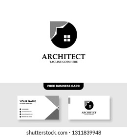 Architecture Company, construction, architect, vector logo template - Vector, Free Business Card