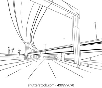 architectural drawings of bridges. Delighful Bridges Architecture Construction Bridge Hand Drawn Sketch For Architectural Drawings Of Bridges